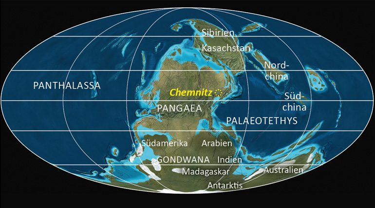 Nicht wiederzuerkennen: Weltkarte zu Beginn des Perms. Chemnitz lag damals in Äquatornähe